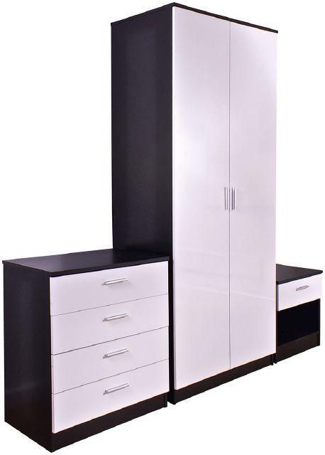 high gloss black white three piece bedroom set high gloss three rh pinterest nz