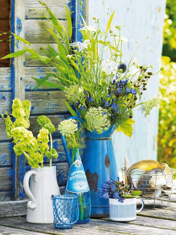 Einfache Dekoration Und Mobel Sommerliche Textilien #17: Sommerliche Blumen-Dekoration - Blumen-dekoration-blau-054