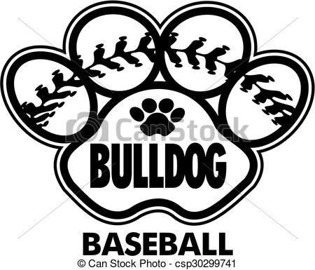 Eps Vector Of Bulldog Baseball Design With Stitches Inside Paw Print Csp30299741 Search Clip Art Illustration Drawings A Baseball Design Softball Paw Print