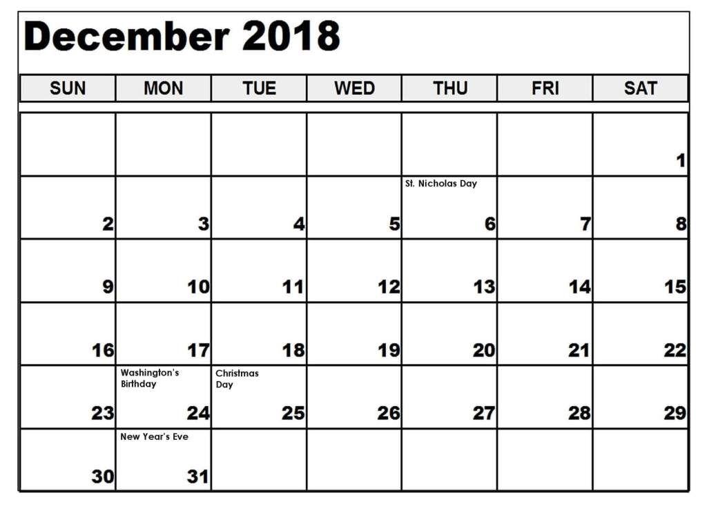 December Calendar 2018 South Africa Calendar Printables