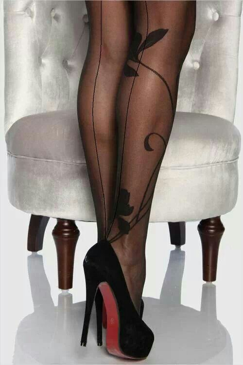 Heels stockings and black silk