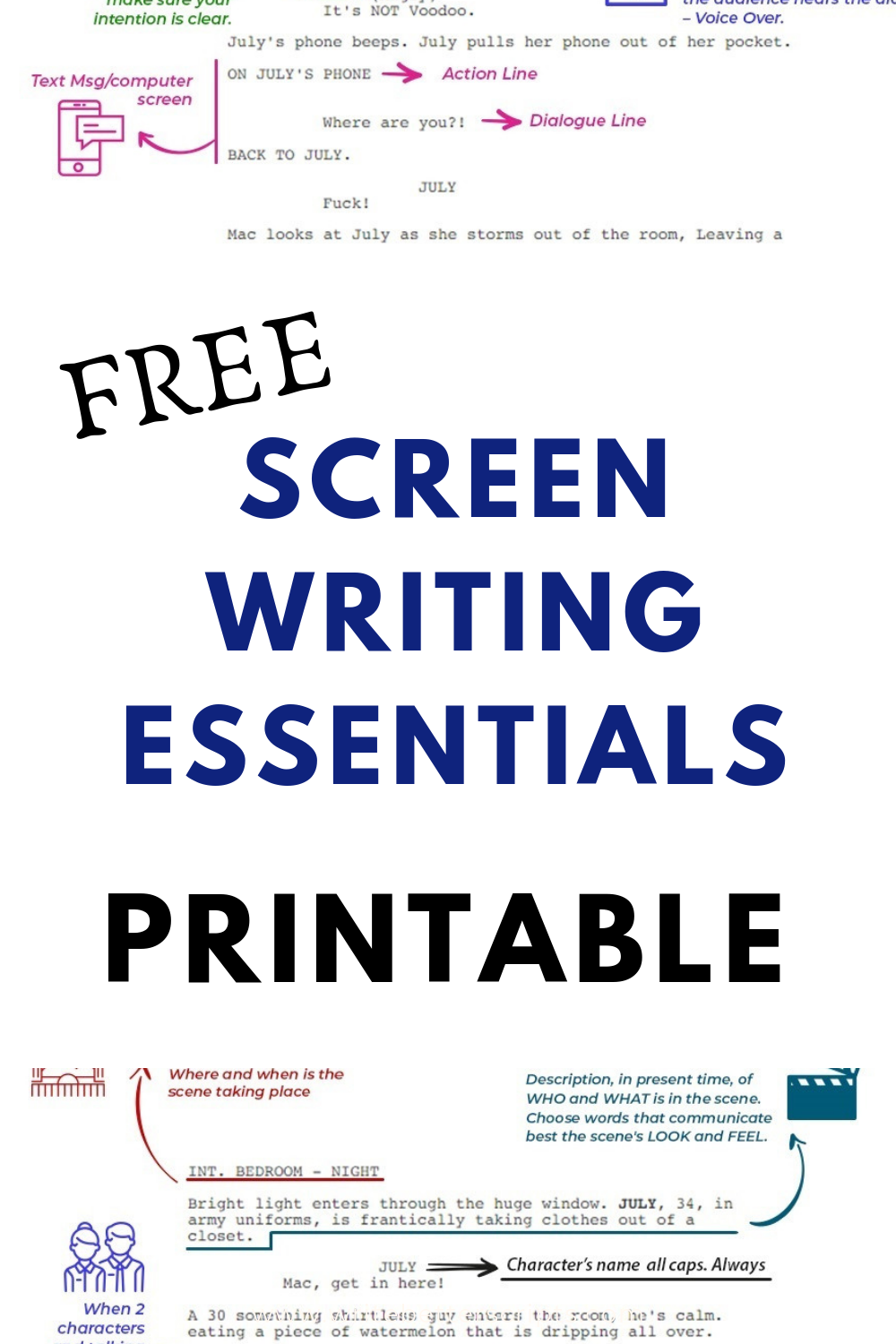 In this printable, you'll find ALL the screenwriting