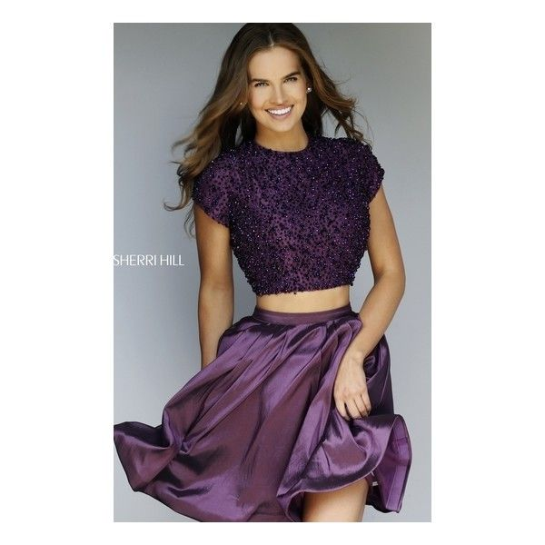 Sherri Hill 32291 Purple High Neck Beaded Two Piece Short Homecoming Dress  2015