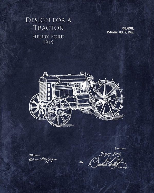 1919 antique tractor design blueprint patent art print art print by 1919 antique tractor design blueprint patent art print art print by sara h malvernweather Images