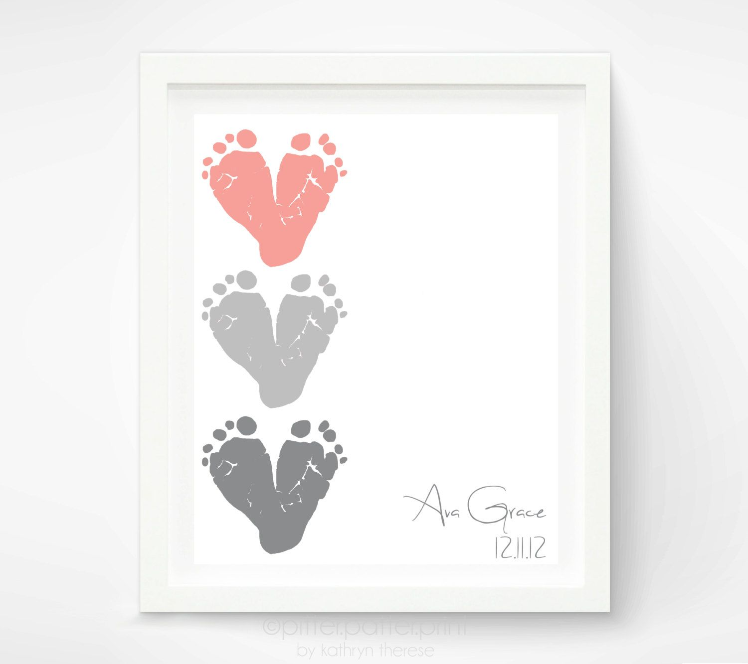 Gift For New Grandma  Baby Footprint Hearts, Dusty Pink,