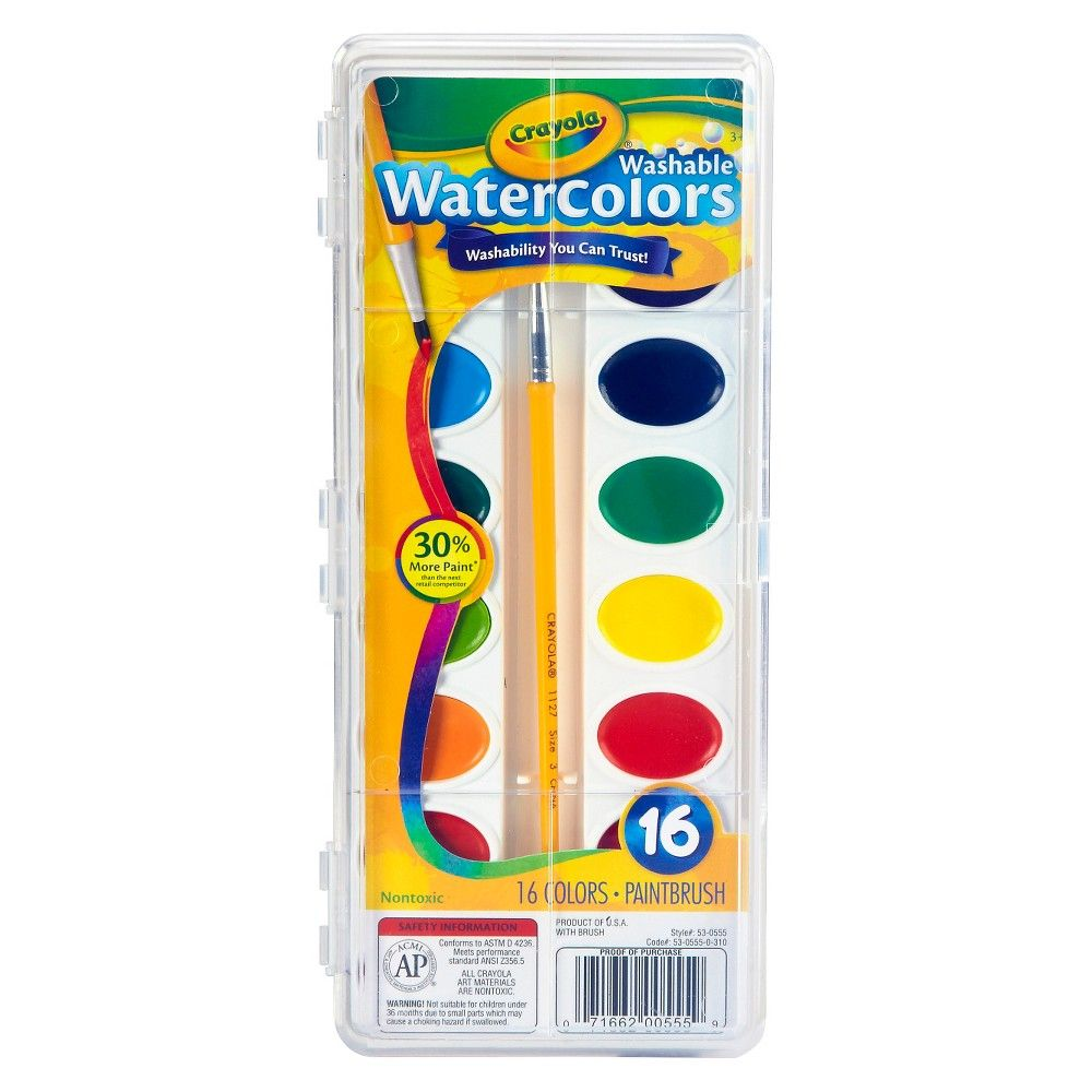 Crayola Watercolor Paints With Brush Washable 16 Colors