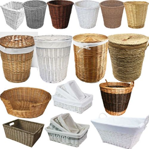 White Black Brown Wicker Round Oval Rectangle Laundry Paper Basket Storage