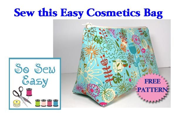 Free pattern to make and sew an easy cosmetics bag. Flat bottomed bag with  a zipper. Print c1f3aa06ce590
