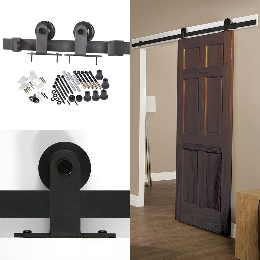 Shop 78 75 In Matte Black Steel Interior Barn Door Roller