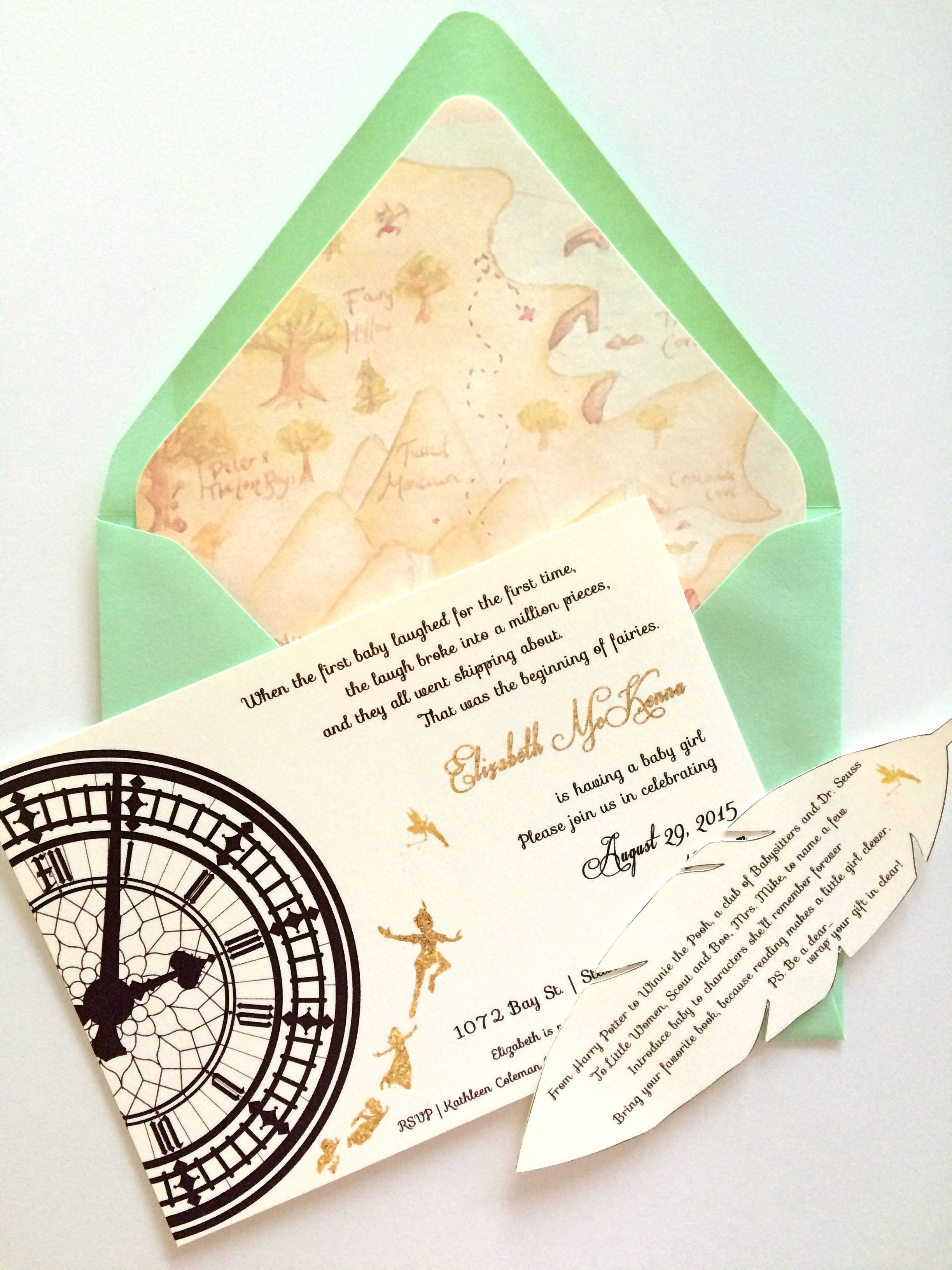 Peter Pan Baby Shower Invitatiobn | dpi designs | Pinterest | Peter ...