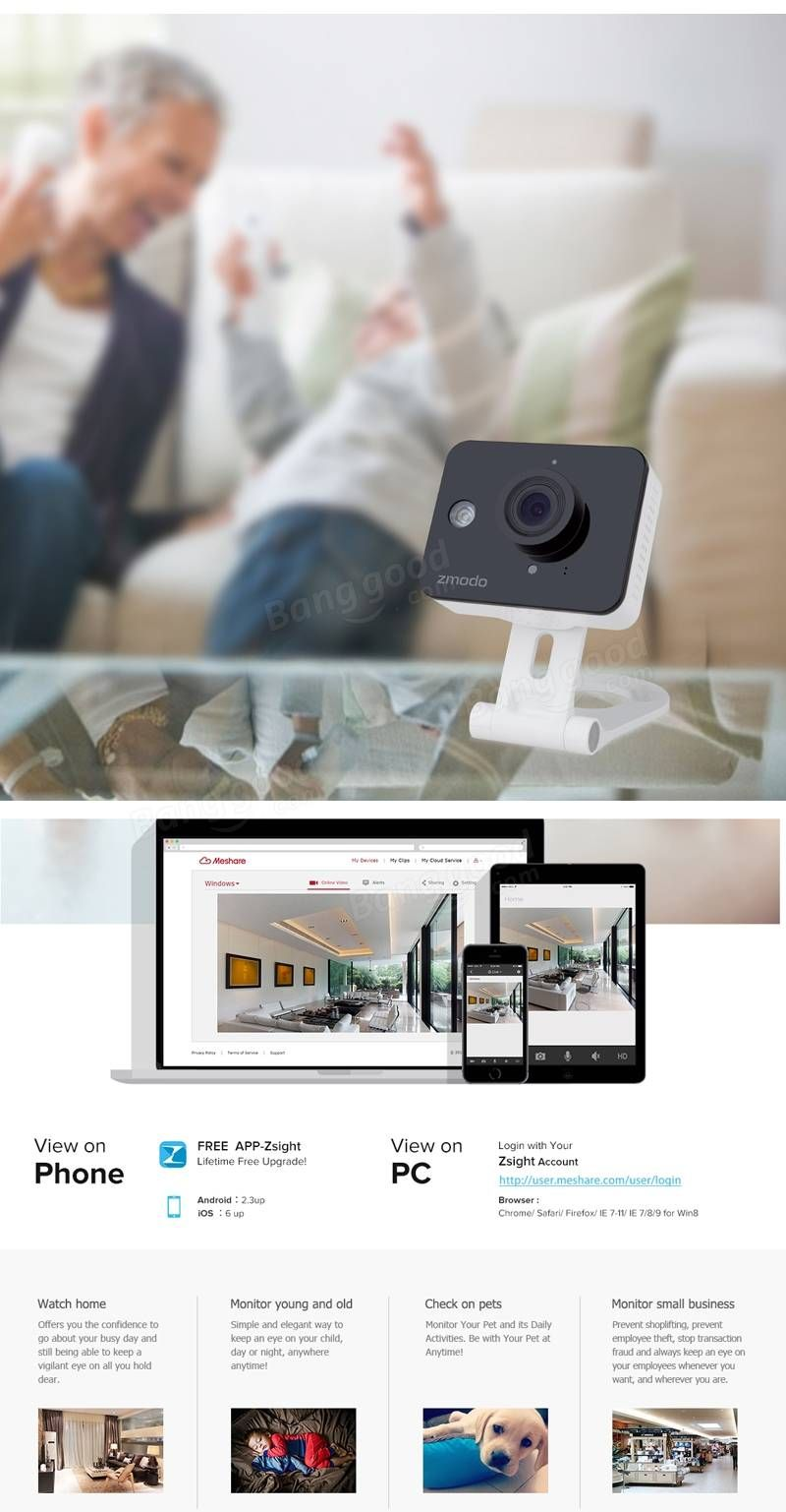 Zmodo 720P Mini Wireless Security Camera HD WiFi IP Camera
