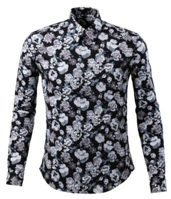 Alion Mens Fashion Long Sleeve Luxury Print Button Down Shirt