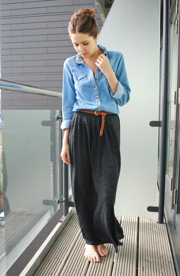 maxi skirt w/button down & belt