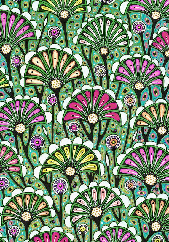 Art floral de dessin, motif de fleurs stylisées lumineux, style art nouveau, décoration d'intérieur - art graphique, dessin XXIX