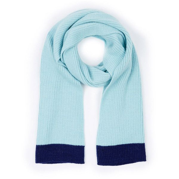 ALLY BEE Rib-Knit Blue Mint Scarf (270 BRL) ❤ liked on Polyvore featuring accessories, scarves, blue scarves, blue shawl, mint scarves and mint green scarves