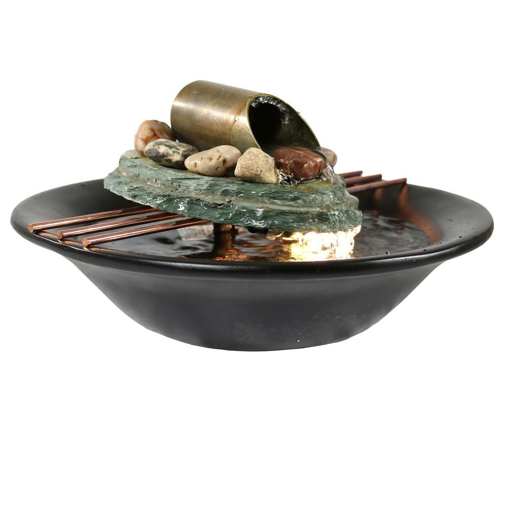 Sunnydaze Decor 7 In Soothing Balance Slate Tabletop Fountain With Led Light Gsi 837 Tabletop Water Fountain Tabletop Fountain Indoor Tabletop Water Fountain