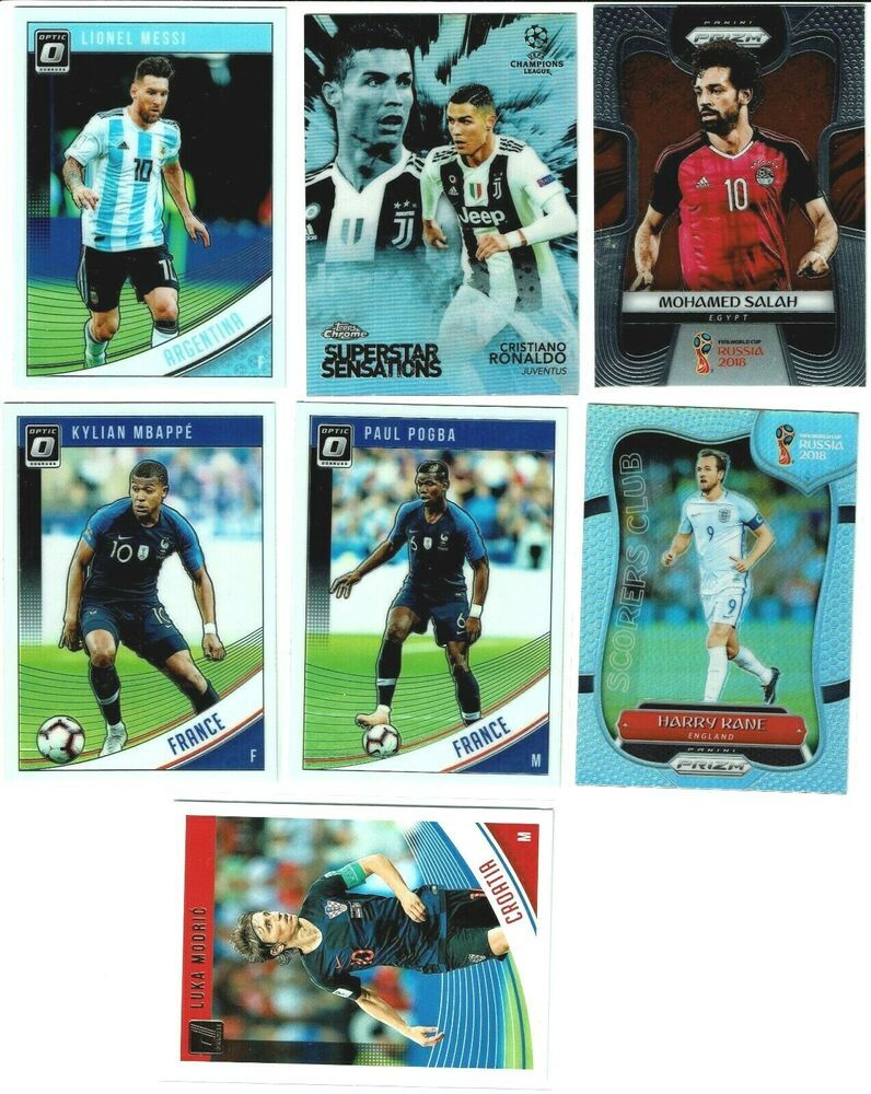 Lot Of 7 Soccer Cards Messi Ronaldo Mbappe Kane Modric Salah Pogba Juventus Soccer Cards Messi Ronaldo