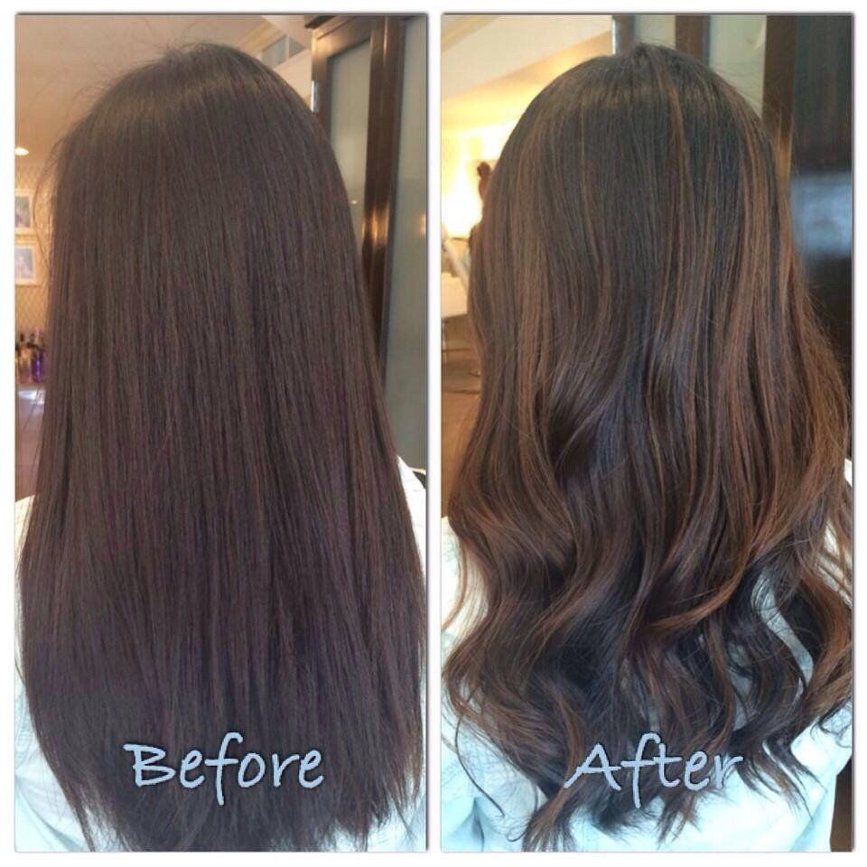 Before and after balayage and hairstyle by Bella salon of Naples .