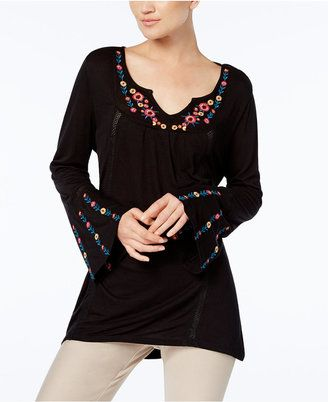 Ny Collection Embroidered Bell-Sleeve Top - $50.00