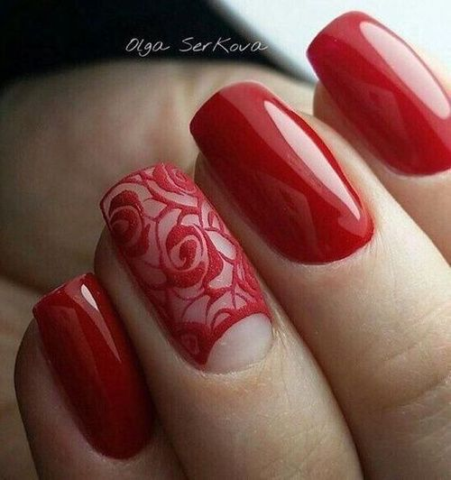 Valentines Red Lace Nailart Lace Nails Trendy Nails Red Nails