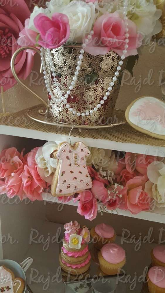 Pretty cookies at a tea party baby shower party! See more party ideas at CatchMyParty.com!