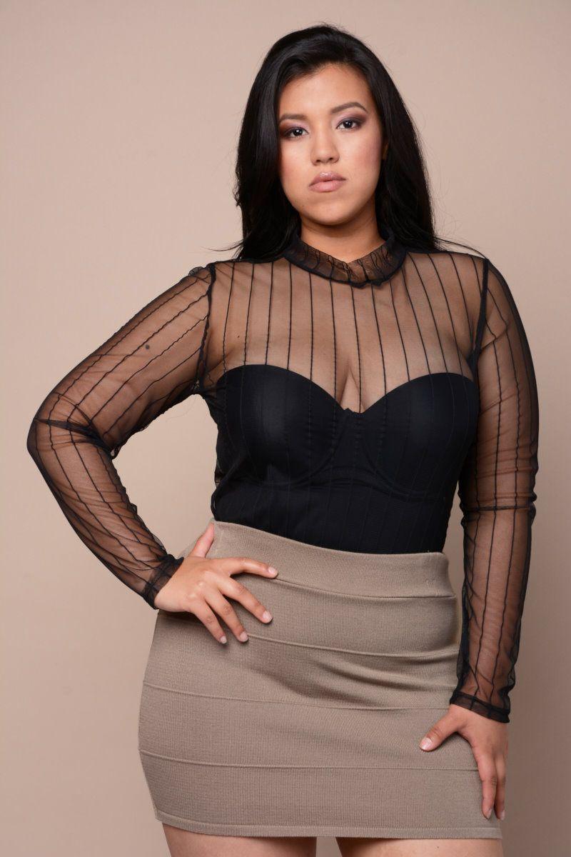 Sheer Stripe Bodysuit 26 99 A Plus Size Bodysuit With A