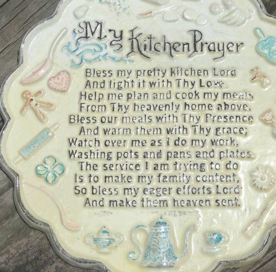Kitchen Prayer Quotes: Vintage My Kitchen Prayer Poem Plaque Jazzjodi #Etsy