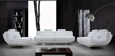 3 Pcs Contemporary White Leather Sofa Set With Sofa Loveseat Chair