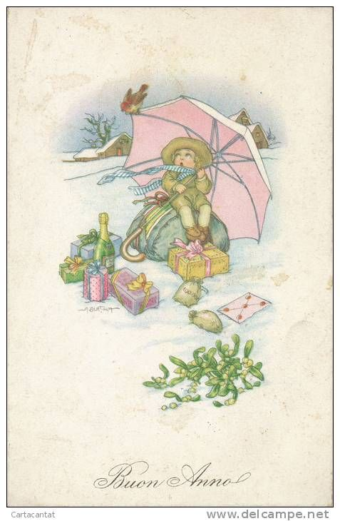 Auguri Di Natale Per I Figli.Bimbo Sulla Neve Con I Doni Di Natale Illustrazione Di A Bertiglia