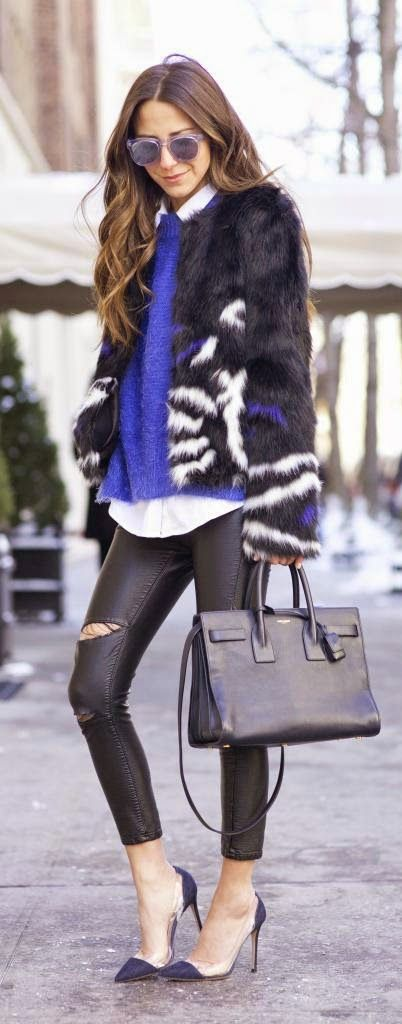 Faux Fur and Leather Ripped Pant , Blue Sweater and High Heels Classic Street Outfits