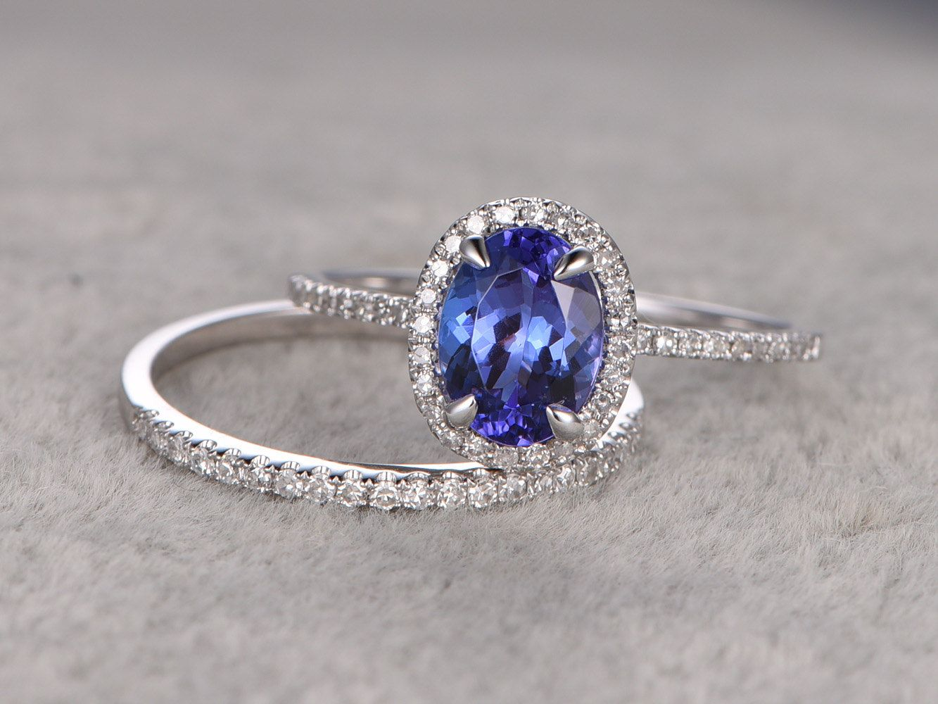 1 28ctw Oval Tanzanite Engagement Ring Vs Diamond Promise 14k White Gold Halo Bridal Wedding Band Blue Gemstone Fine 4a Stone By Popring