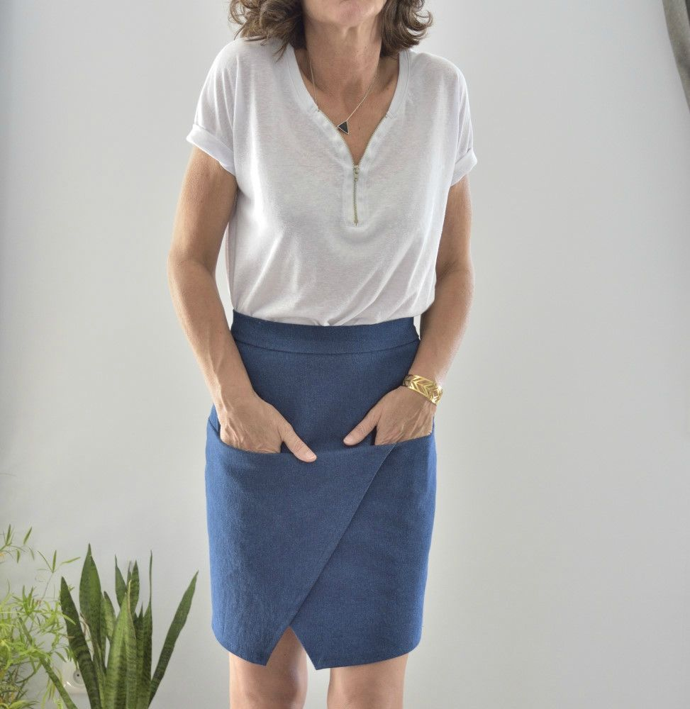 Absolutely LOVE this faux wrap style skirt (with pockets!!) by L ...