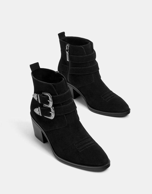 Botines cowboy hebillas PIEL hebillas cowboy Zapatos Piel Bershka y 91f8bc