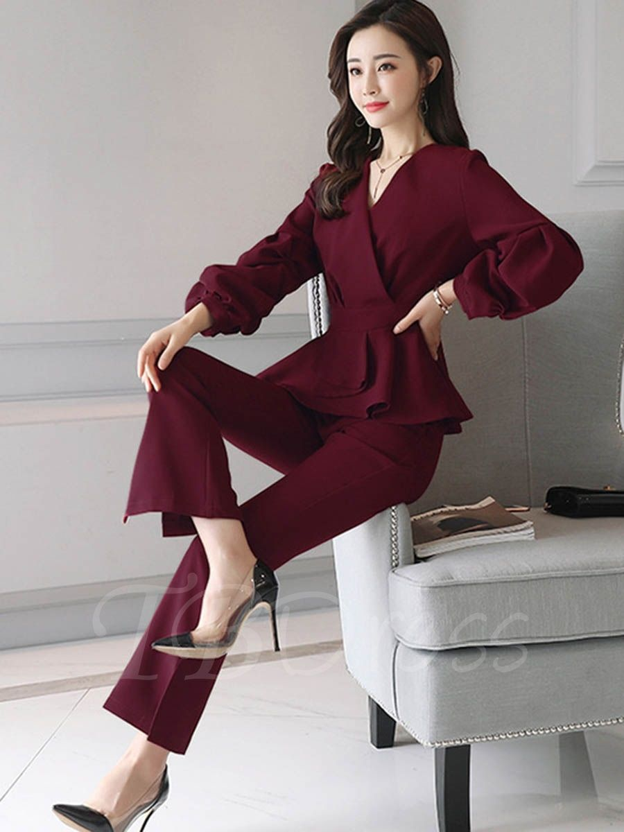 f40543bcd1 Tbdress.com offers high quality Puff Sleeve V-Neck Patchwork Women s Pants  Suit Pants Suits unit price of   37.99.