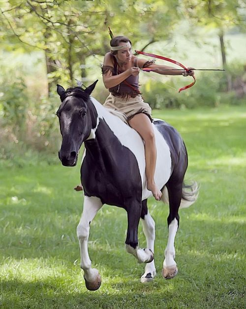 Amazing talent of both the horse and rider for horse back archery native American style