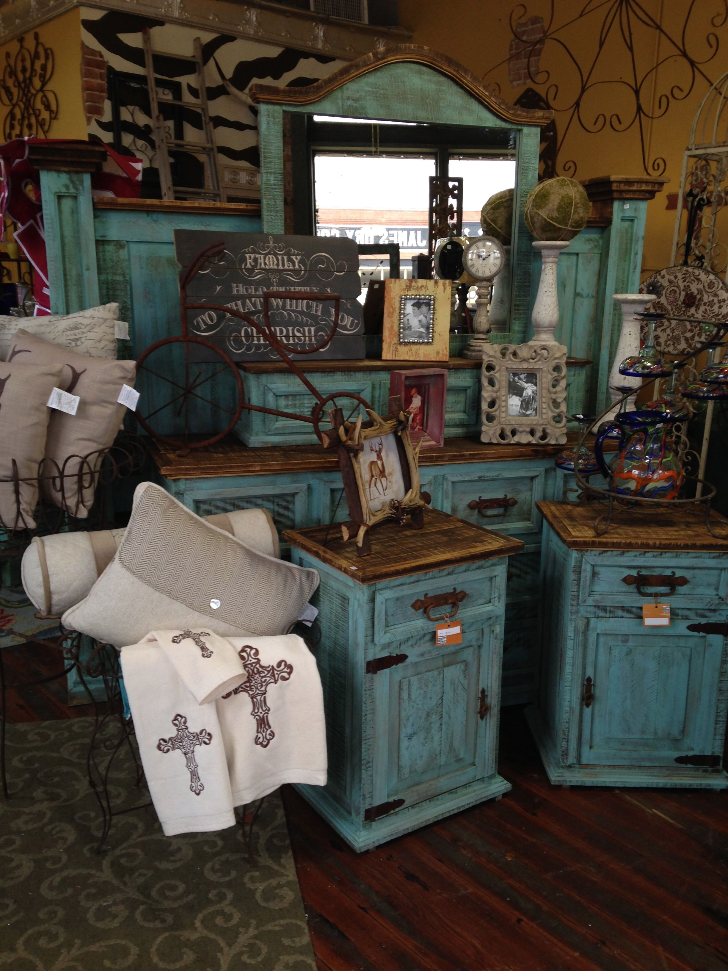 Beautiful Rustic Turquoise Bedroom Suite Teal Furniture Decor