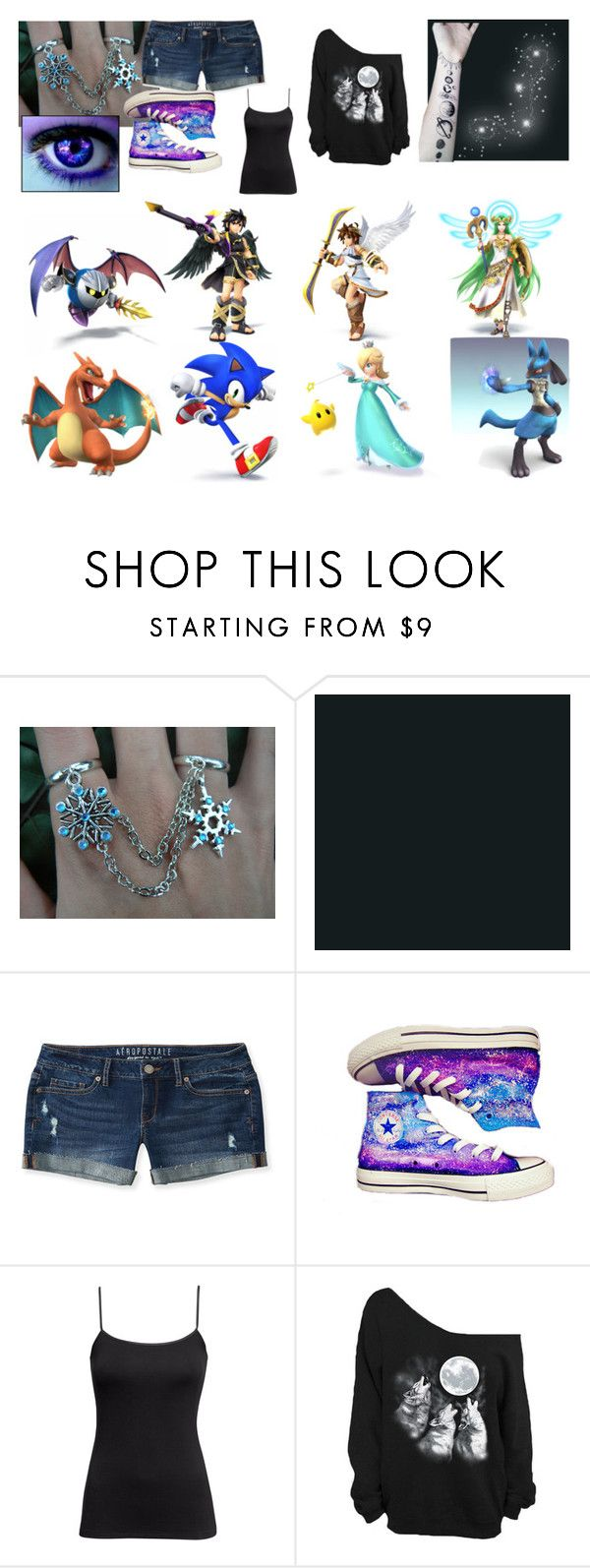 """""""Celestia (SSBB OC)"""" by spirit-of-halloween ❤ liked on Polyvore featuring Disney, Nintendo, Aéropostale, Converse and H&M"""