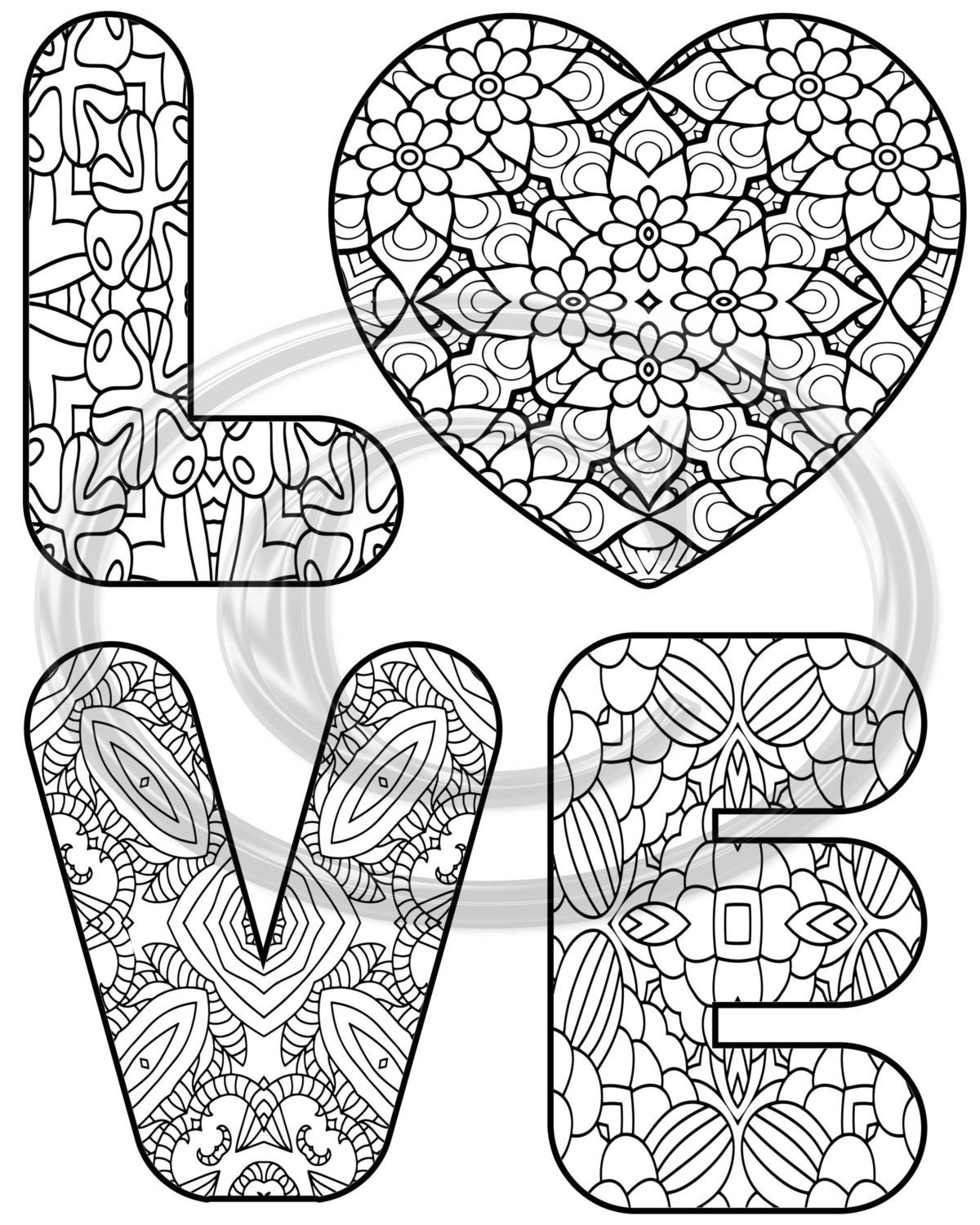 Love coloring page printable instant download  Love coloring