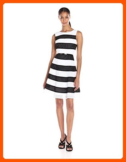Calvin Klein Women's Eyelet Stripe Fit and Flare Dress with Belt AT Waist, White/Black, 8 - All about women (*Amazon Partner-Link)
