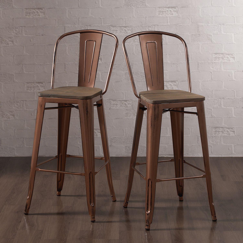 tabouret wood seat brushed copper bistro bar stool set of 2 by i love living bar areas set. Black Bedroom Furniture Sets. Home Design Ideas
