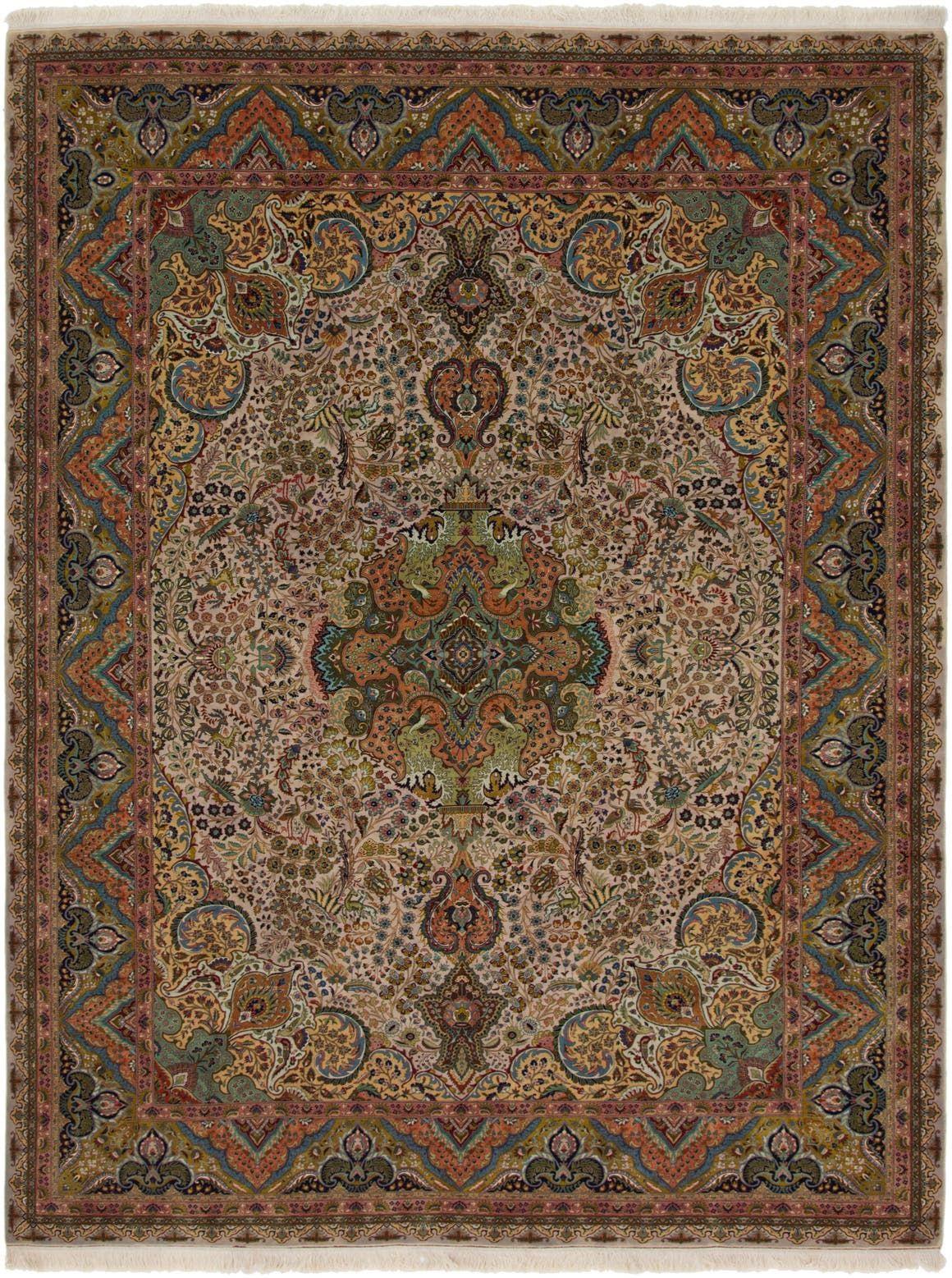 Multicolor 9 9 X 13 Tabriz Persian Rug Esalerugs In 2020 Persian Rug Rugs Rugs On Carpet