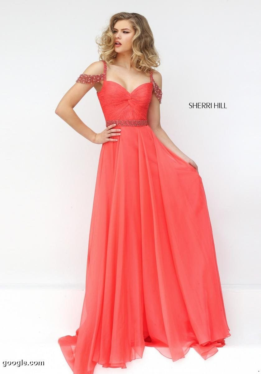 Beaded Strap Sweetheart Neckline Sherri Hill 50086 Open Back Coral 2016  Chiffon Long Ruched Prom Dresses