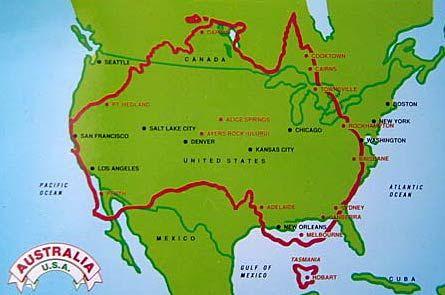 Australia Vs The US In Size Maps Pinterest Square - Us size map