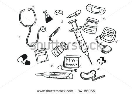 Freehand Draw Doctor S Tools Stock Photo 84186055 Shutterstock Doctor Drawing Nurse Drawing Doodle Icon