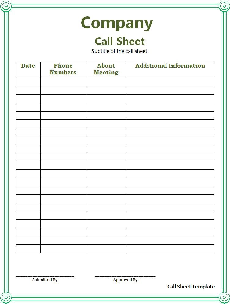 Call Sheet Template  Professional Templates    Template