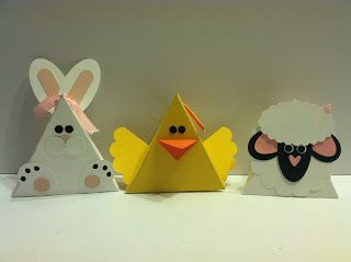 trio of handmade pyramid boxes by Stampin Sunshine ... bunnie, chickie and lamb ... perfect for Easter ... Stampin' Up!