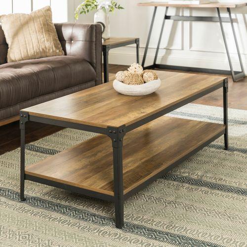 Rustic Oak Angle Iron Wood Coffee Table In 2019