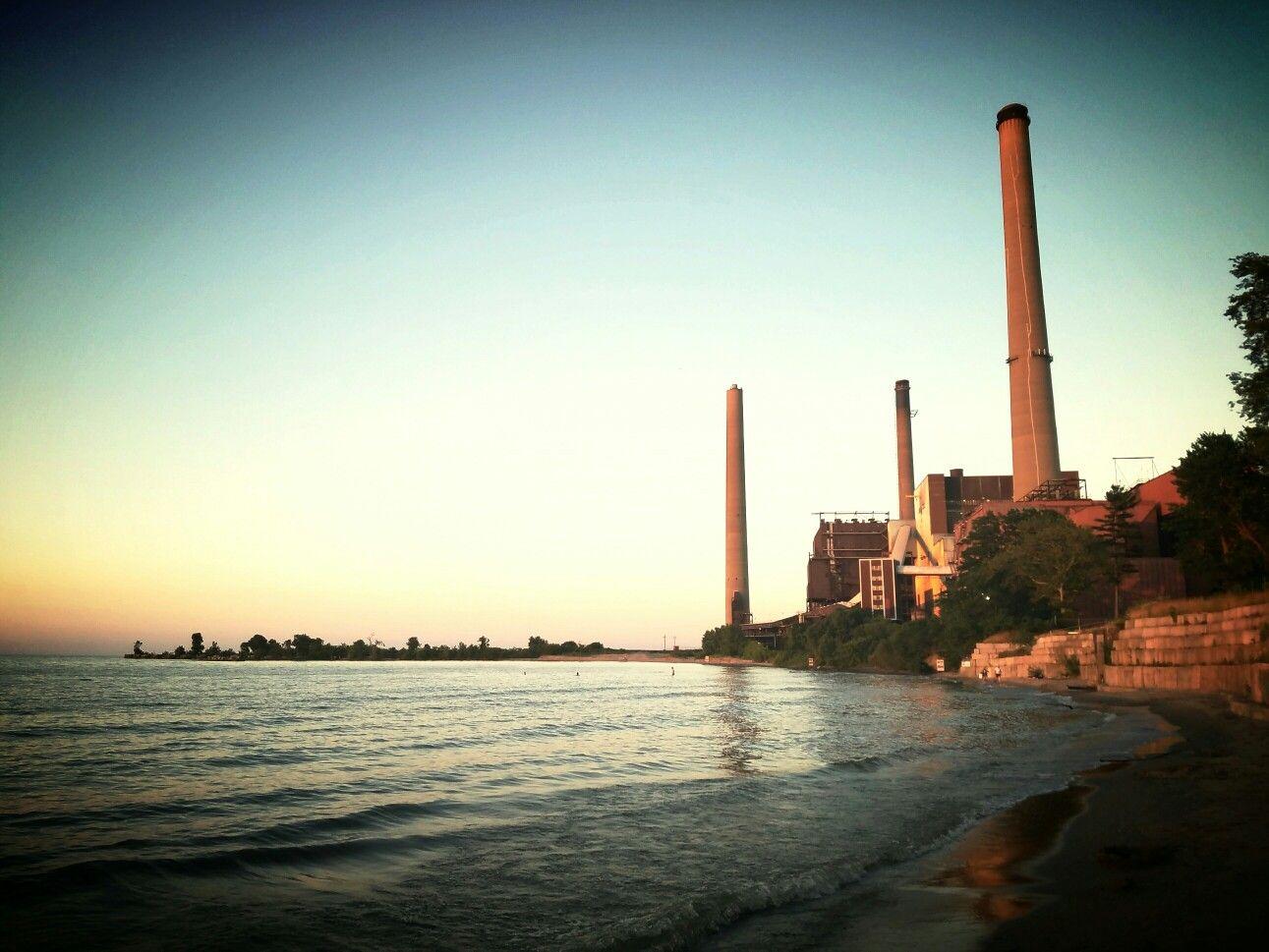 Power plant on Lake at sunset