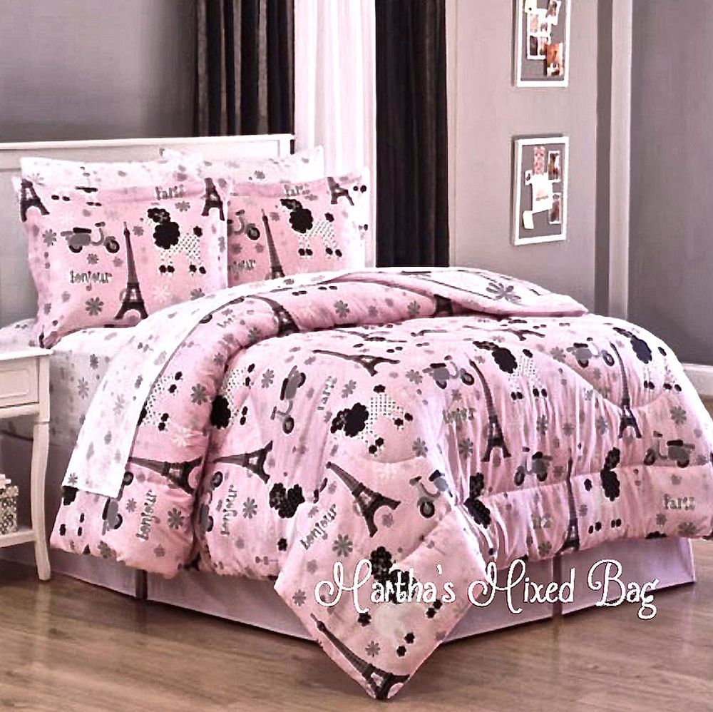Paris Chic Eiffel Tower French Poodle S Pink Comforter Bed Set Sheets