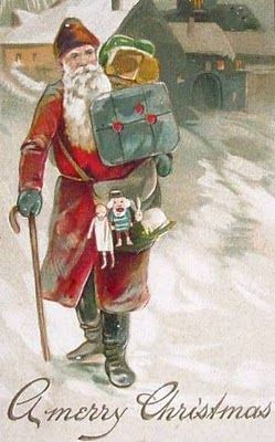 Old-fashioned Father Christmas (Santa) walks with cane, holds blue satchel   Source: Bumble Button